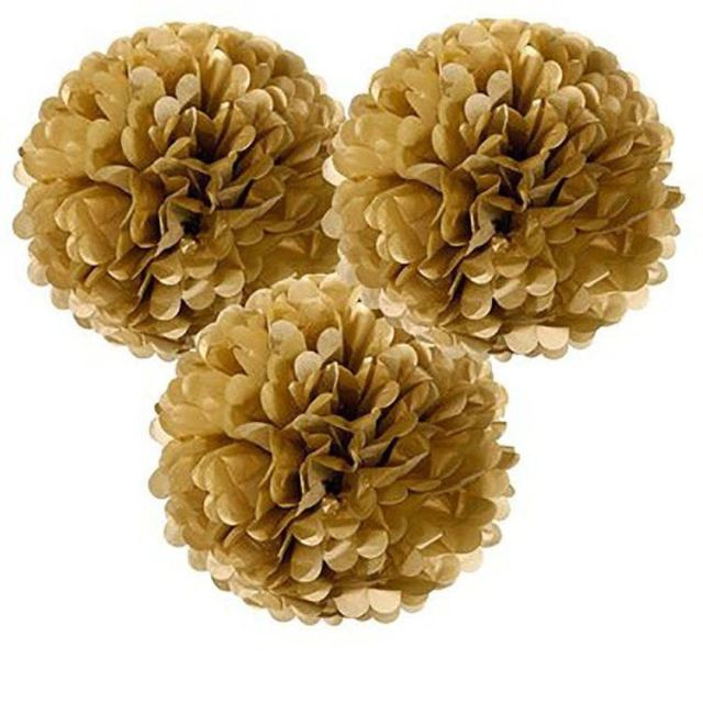 Factory Wholesale Metallic Gold Tissue Paper Pompoms Artificial Paper Flowers