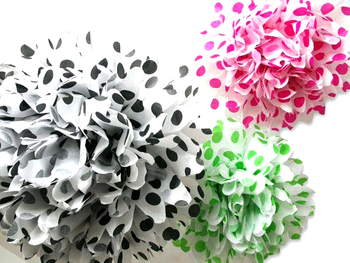 Hot Selling Polka Dots Artificial Paper Flower Wall Decoration, Tissue Paper Pompoms