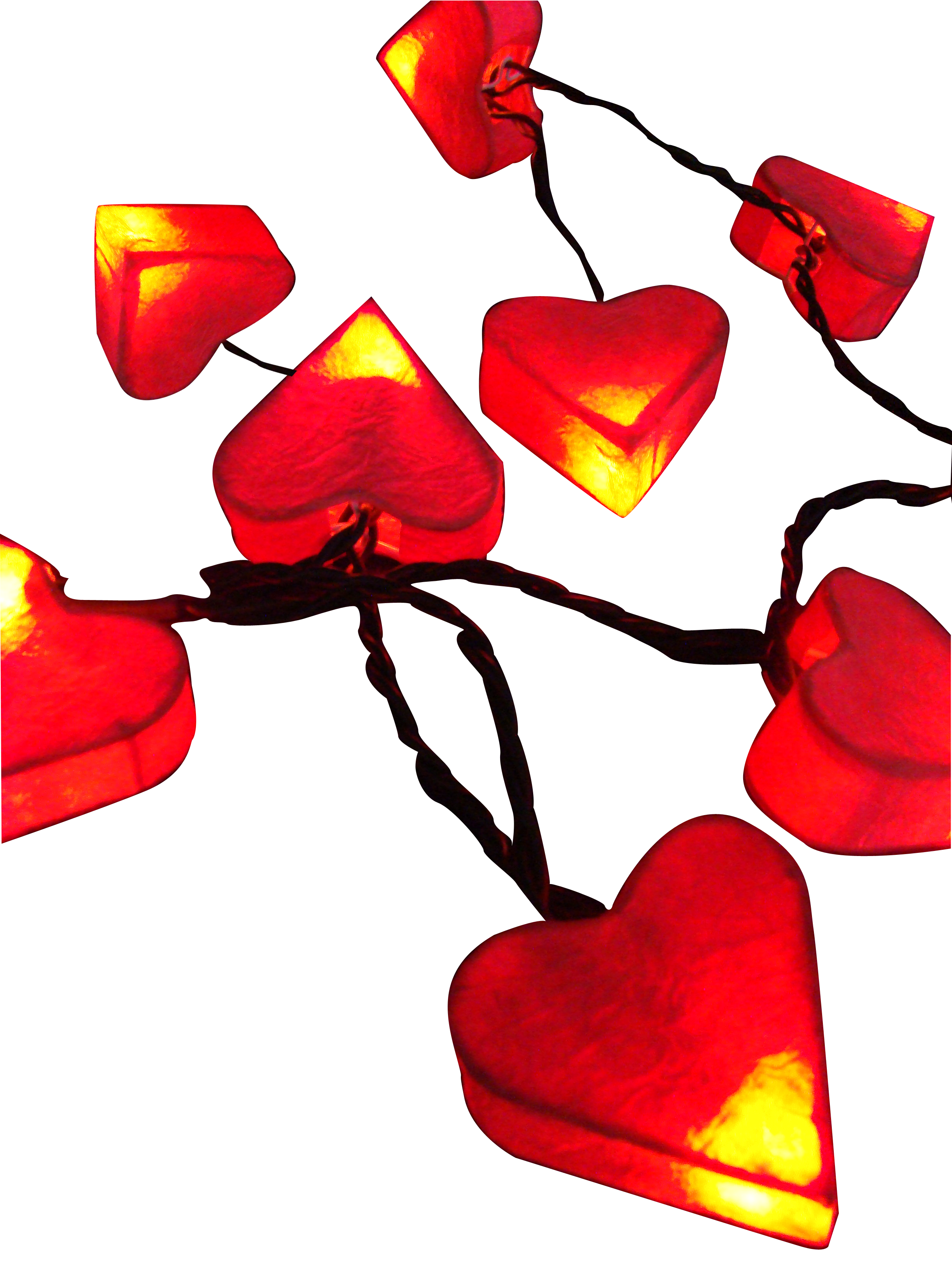 Garland red paper sweet heart shape LED battery string lights for party & event deco.