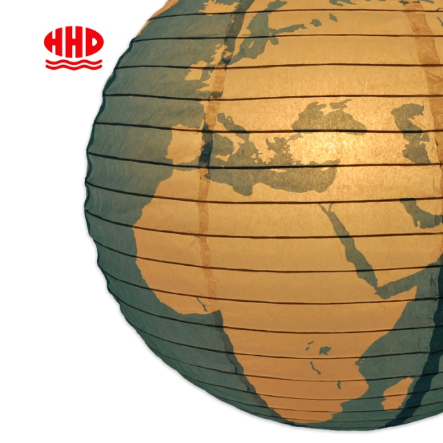 Theme Party Occasions Decoration World Map Rice Paper Lantern Globe Lampshade
