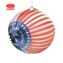 American Flag Printable Holiday Celebration Accordion Paper Lantern for Hanging Decoration