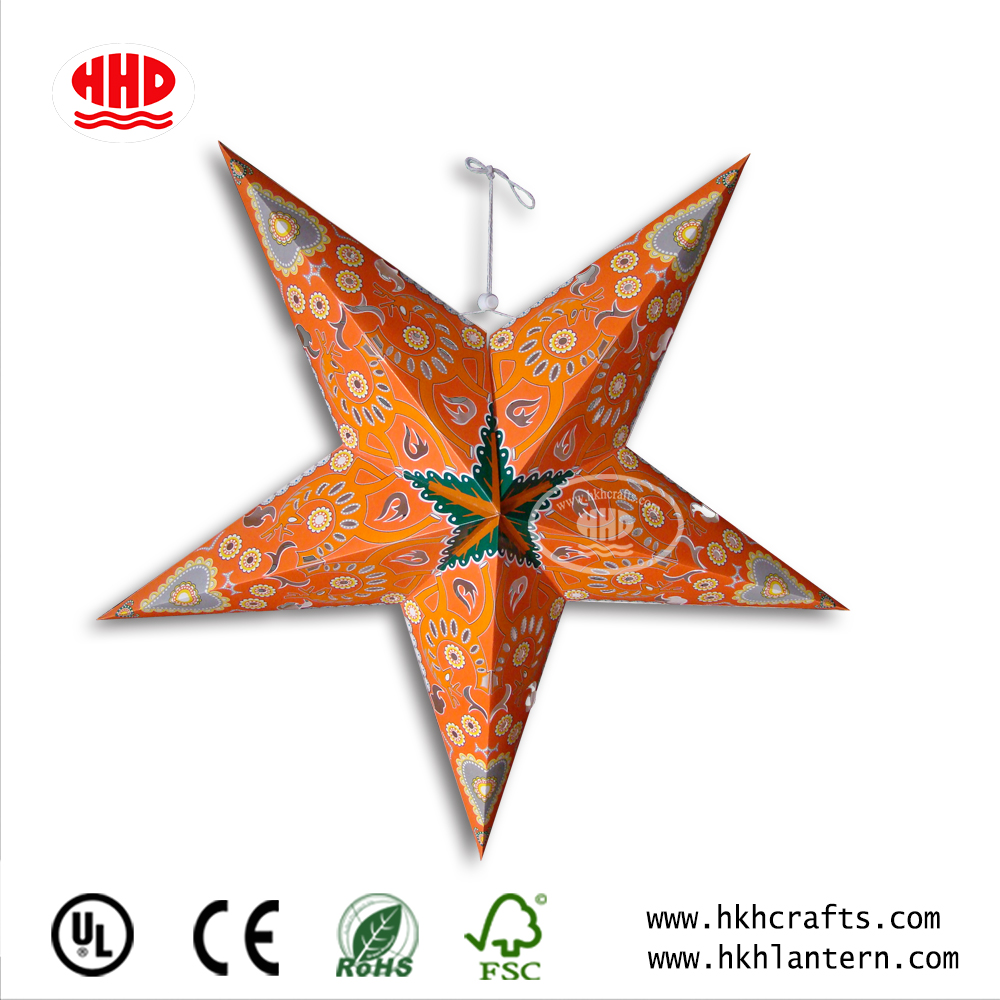 Handmade Hanging Paper Led Star Lights Wholesale For Garden Decoration