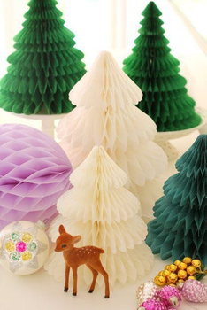 Customize Christmas Ornaments Tissue Paper Honeycomb Centerpiece Christmas Tree for Party Decoration