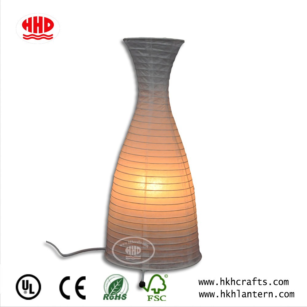 Modern white table lamp lantern textured rice paper diffused lighting shade