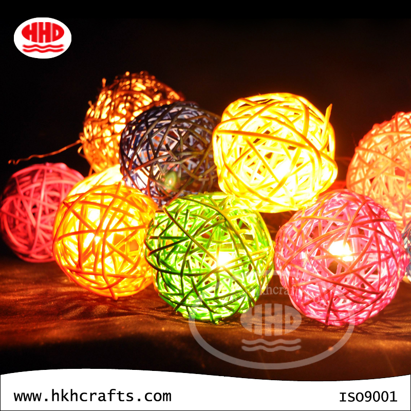 Customized Colorful Premium Quality Rattan Ball Led Lights Chain Directly Sale From China Factory