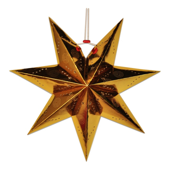 7 Arms Pin Holes and Mini Star Cut Out Design Shining Gold Star Paper Lantern for Hanging Decoration