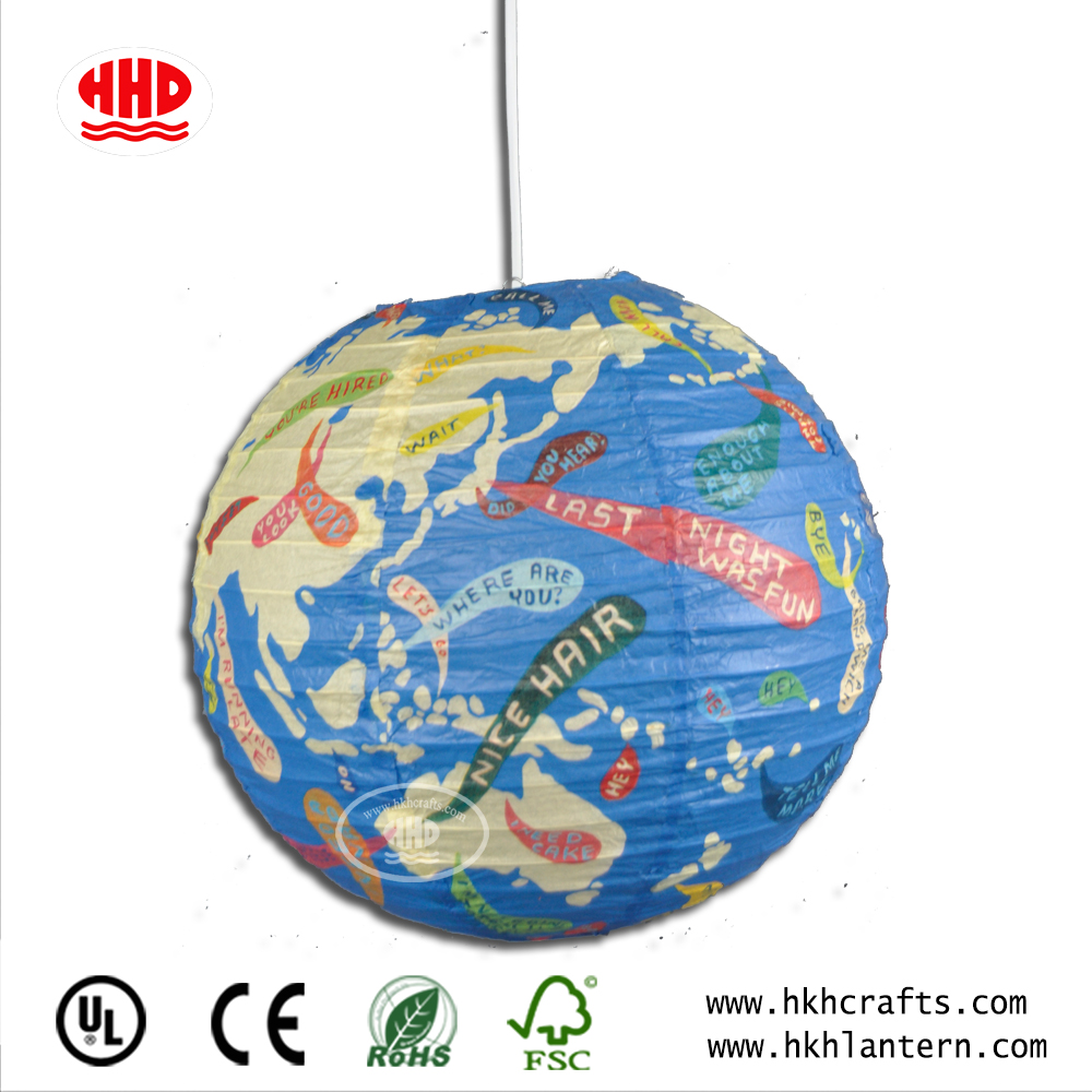 europe fashion style home decoration printed ceiling hanging round paper Lantern