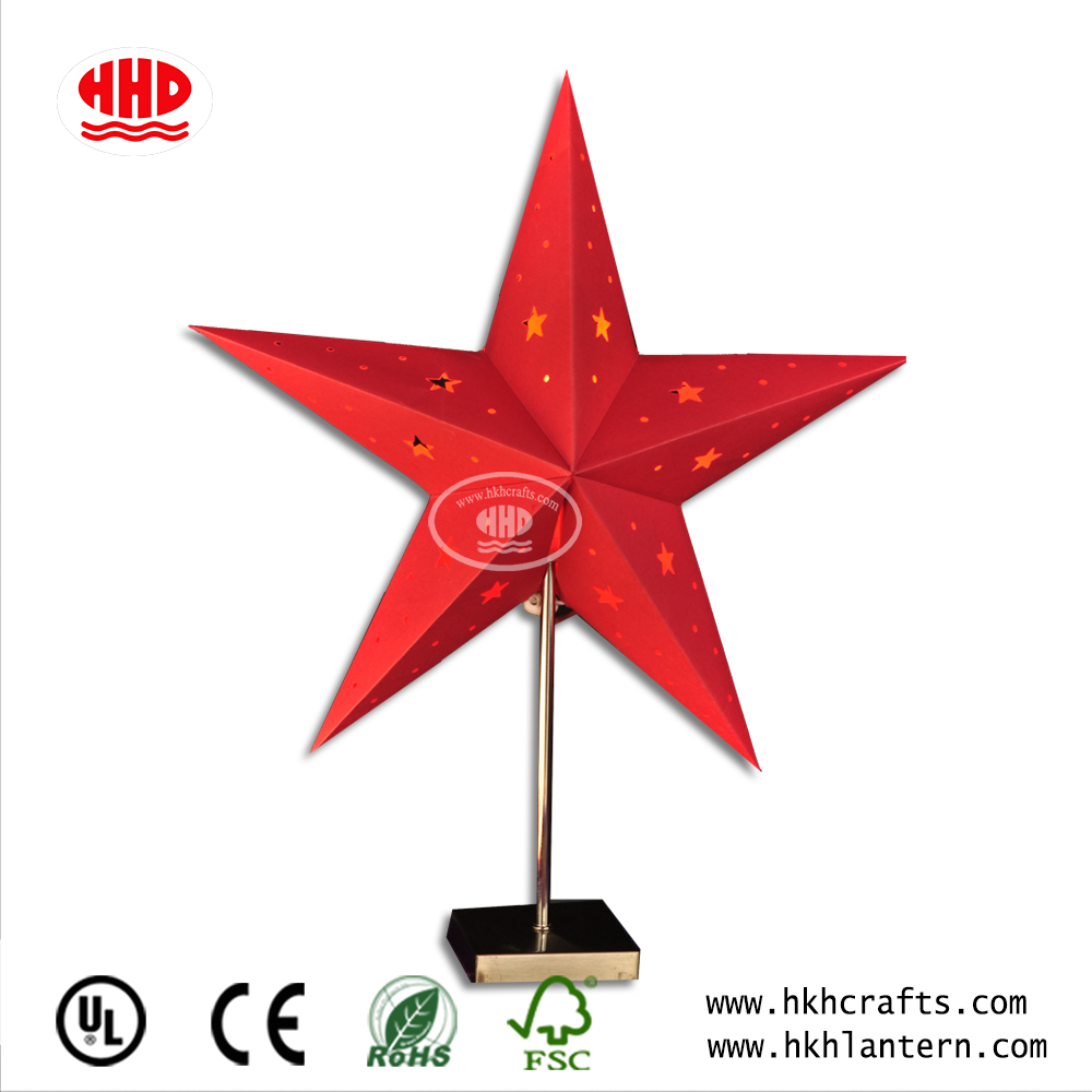 Fashion Hot Sale Paper Five Point Star Desk Lantern for Indoor Decoration or Party Decoration