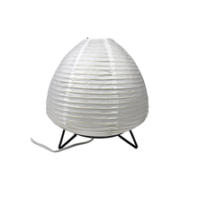 White Egg Handmade Metal Base Supporting Paper Fold Shade Table Lamp
