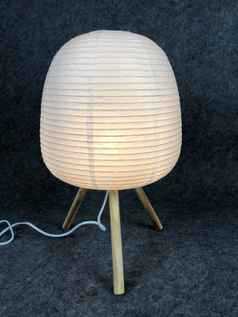 White Color Wooden Feet Base Fold Paper Table Lamp